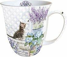 Ambiente Tasse Kaffeebecher 0,4 l Keramik Katze