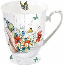 Ambiente Tasse Summer Hat Vögel Schmetterling und