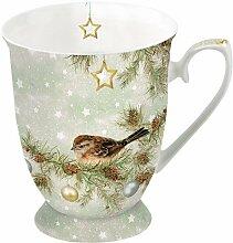 Ambiente Weihnachten Tasse der Saison Grün Vogel