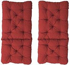 Ambientehome 2er Set Polsterauflage für Klappstuhl, rot, ca 90 x 40 x 8 cm, Kissen Sitzauflage