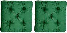 Ambientehome 2er Set Sitzkissen Sessel Evje, grün, ca 50 x 50 x 8 cm, Polsterauflage