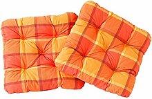 Ambientehome 2er Set Sitzkissen Sessel Evje, kariert orange, ca 50 x 50 x 8 cm, Polsterauflage