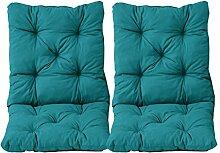 Ambientehome 2er Set Sitzkissen und Rückenkissen Sessel Hanko, türkis, ca 50 x 98 x 8 cm, Polsterauflage