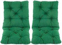 Ambientehome 2er Set Sitzkissen und Rückenkissen Sessel Hanko, grün, ca 50 x 98 x 8 cm, Polsterauflage