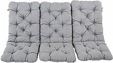 Ambientehome 90346 Dicke Auflage Stuhlkissen mit Rückenteil Sesselauflage Hochlehner 3-er Set, schwarz / grau