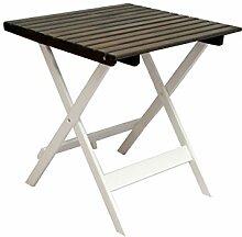 Ambientehome 90478 Gartentisch Bistrotisch Esstisch Klapptisch klappbar Holztisch Massivholz Lotta weiss/taupe grau braun ca. 65x65 cm
