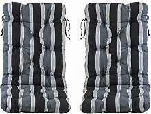 Ambientehome Auflage für Klappstuhl Hochlehner Stuhlauflage Bankauflage, schwarz, 2-teiliges Se