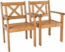 Ambientehome Garten Sessel Stuhl Massivholz Gartenmöbel EVJE, braun, 2-teiliges Se