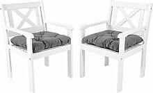 Ambientehome Garten Sessel Stuhl Massivholz inkl. Kissen EVJE, Weiß, 2-teiliges Se