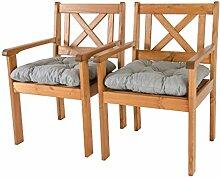 Ambientehome Garten Sessel Stuhl Massivholz inkl. Kissen EVJE, braun, 2-teiliges Se