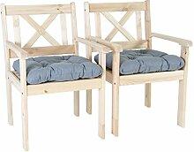 Ambientehome Garten Sessel Stuhl Massivholz inkl. Kissen EVJE, Natur, 2-teiliges Se