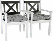 Ambientehome Garten Sessel Stuhl Massivholz inkl. Kissen EVJE, Weiß/Taupegrau, 2-teiliges Se
