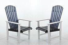 Ambientehome Gartensessel Stranda, Gartenstuhl, Sessel, 2-er Set, weiß / grau