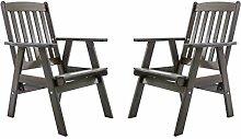 Ambientehome Gartensessel verstellbarer Sessel Stuhl Gartenstuhl Massivholz Hochlehner VARBERG, Taupegrau, 2-teiliges Se