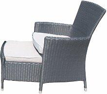 Ambientehome Polyrattan Sessel Stuhl mit Einstellhocker inkl. Kissen Nairobi, schwarz