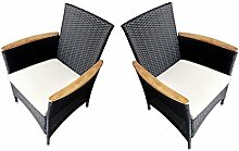 Ambientehome Polyrattan Stuhl Sessel Lubango, schwarz, 2-teiliges Se