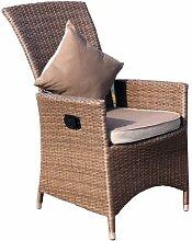 Ambientehome verstellbarer Polyrattan Sessel Stuhl Somalia, braun