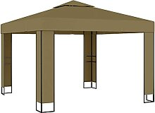 Amdohai Pavillon mit Doppeldach 3x3x2,7 m Taupe