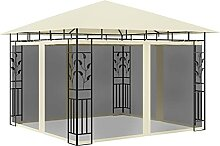 Amdohai Pavillon mit Moskitonetz 3x3x2,73 m Creme