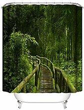 AMDXD Polyester Duschvorhang Bambus Hain Gehweg
