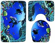 AMDXD Set Polyester 3 Pcs Toilettenmatte Teppich
