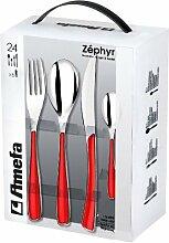 Amefa Zephyr 597556 Besteckset, Rot, 24-teilig