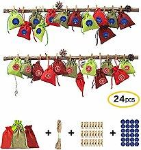 Ameiqa Adventskalender Säckchen,Weihnachtsthema