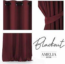 AmeliaHome Blackout Vorhang 140x245 cm dunkelrot 1