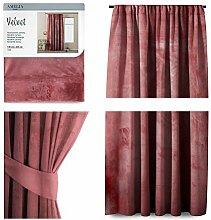 AmeliaHome Vorhang Velvet Optik 140x245 cm Altrosa