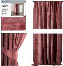AmeliaHome Vorhang Velvet Optik 140x270 cm Altrosa