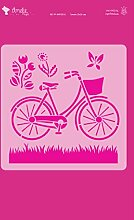Amelie Prager amp02015Stencil Fonds Fahrrad Blumen, 20x 20cm