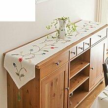 American Country Stickerei Tischläufer/Pastorale Bestickt Baumwolle, Leinentuch/Mediterrane Stoff Tischdecke-A 40x180cm(16x71inch)