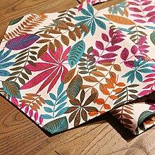 American Country Tropischen Blatt Baumwolle Leinwand Tischläufer,TV Schrank Tisch Fahne Flagge,Bett-läufer-A 35x220cm(14x87inch)