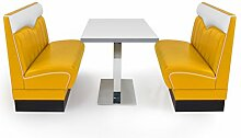 American Diner Set London gelb 2x Sitzbank 120cm + Diner Tisch