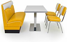 American Diner Sitzgruppe gelb: Sitzbank London 120cm + Diner Tisch + 2x Retro Stuhl