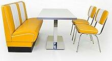 American Diner Sitzgruppe gelb: Sitzbank Viber 120cm + Diner Tisch + 2x Retro Stuhl