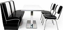 American Diner Sitzgruppe schwarz: Sitzbank Viber 120cm + Diner Tisch + 2x Retro Stuhl