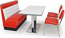 American Diner Sitzgruppe: Sitzbank Chicago 120cm + Diner Tisch + 2x Retro Stuhl