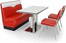 American Diner Sitzgruppe: Sitzbank London 120cm + Diner Tisch + 2x Retro Stuhl