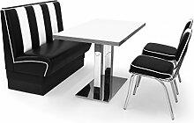 American Diner Sitzgruppe: Sitzbank Viber2 120cm + Diner Tisch + 2x Retro Stuhl