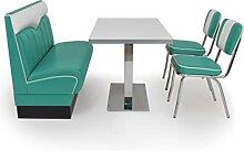 American Diner Sitzgruppe türkis: Sitzbank London 120cm + Diner Tisch + 2x Retro Stuhl