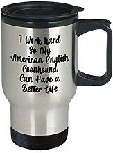 American English Coonhound Travel Mug I Work Hard