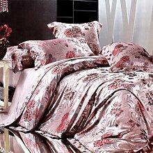 American european style silk 6 Pieces bettwäsche set decke deckung bettwäsche trauung schmuck-A Queen2