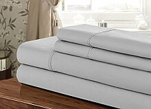 AMERICAN HIGH CLASS 1200TC 4-Piece Extra Deep Pocket, Sheet Set Fit Upto 24 Inches Deep Pocket, Emperor/Wyoming King Size (Silver Solid Color) 100% Egyptian Cotton by SRP Linen Mercantile Pvt. Ltd.