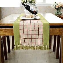 American Ländlichen Fransen Tischläufer/College Stil Tischdecke/Beistelltisch Stoff Gepolstert Bett-E 38x150cm(15x59inch)