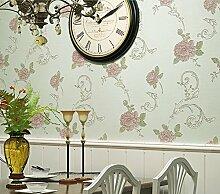American ländlichen Frisch und Flower Light Grün 3D Vliesfasertapete Wohnzimmer Schlafzimmer House Tapete, Only the wallpaper, Light green