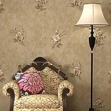 American pastoral Skulptur/4D solide Vliestapete/Nachahmung Grün Seide Handwerk Tischplattentapeten/Wohnzimmer Schlafzimmer TV Wand Tapete-A