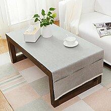 American pure color table tuch,home tischdecke,vintage tischdecke.lÄndlichen] moderne landschaft edge teetisch sauber längliche tischdecke.mehrere farben.grey-Grau 70x150cm(28x59inch)