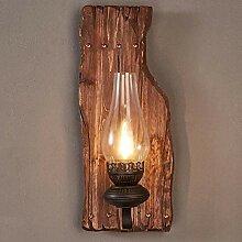 American Retro Nostalgie Holz, Glas Lampenschirm