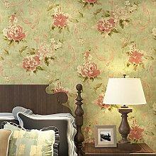 American Retro-pastorale ländlichen Vlies-Tuch Blumen Tapete Wohnzimmer Schlafzimmer Wandbild grüne Tapete